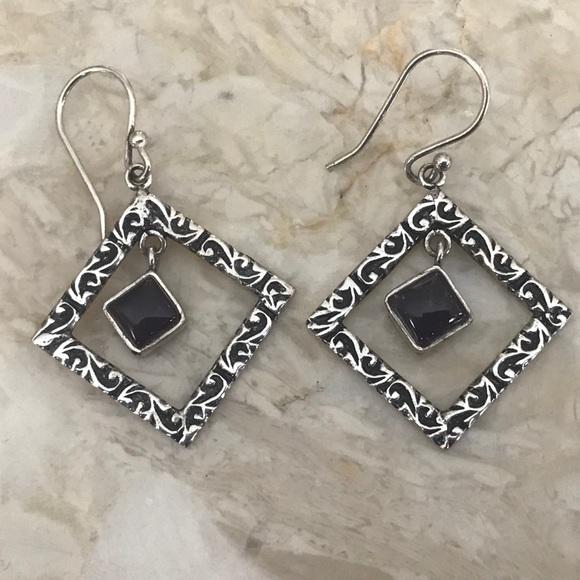 Silver & Purple Stone Dangling Earring